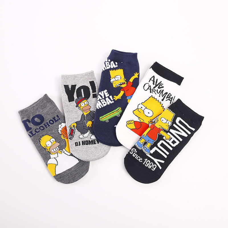 Spring Fashion Women Boat Socks Korean Cotton Trend Cartoon Beer Letter Personality Simpson Happy Funny Socks Kawaii Low Help