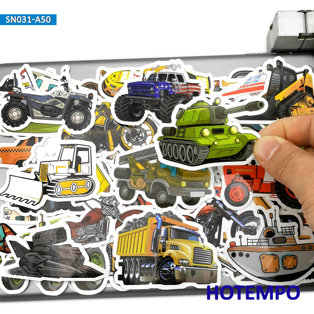 50pcs Cute Truck Bus Moto Car Ship Airplane Cartoon Stickers Toys For Kids Mobile Phone Laptop Suitcase Skateboard Decal Sticker