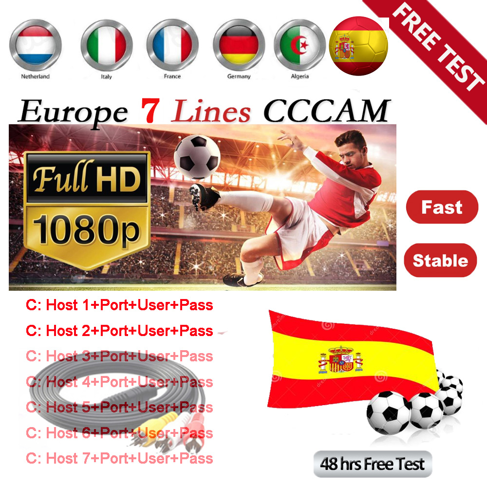 Cccam 2020 Super Stable Cccam Line For Europe Spain Cccam Clines Satellite Tv Receiver 7lines WIFI FULL HD DVB-S2 Support Ccams