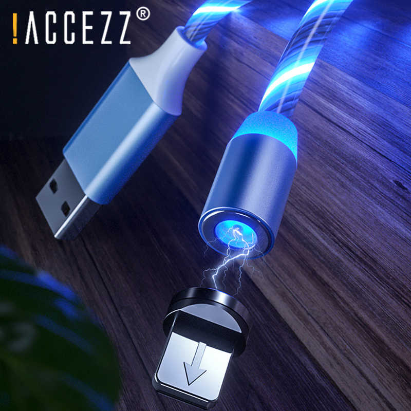 ! ACCEZZ المغناطيسي LED كابل يو اس بي سريع شحن ل فون 7 X باد مايكرو تهمة USB C المغناطيس شاحن ميركو لسامسونج الهاتف الحبل