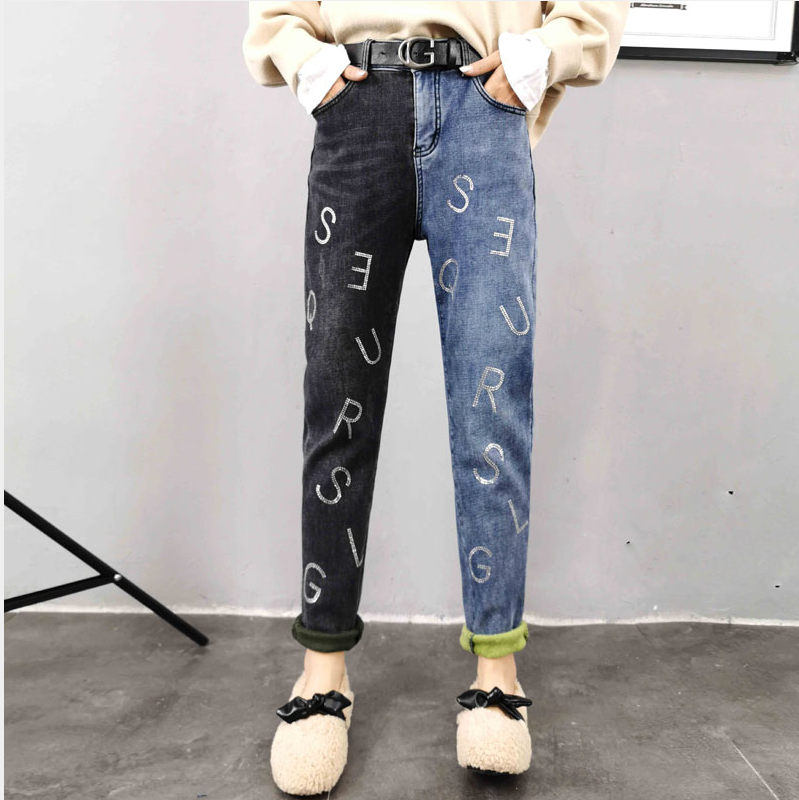 Women's new plus size winter jeans Plus Velvet thickened  jeans AB color contrast  hot stamping High Waist Stretch denim pants