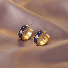 Корейские модные золотые темпераментные геометрические серьги