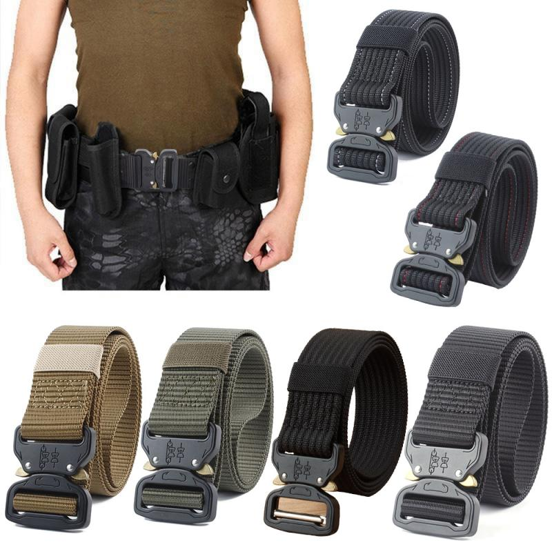 New Tactical Belt Military High Quality Nylon Men's Training Belt Metal Multifunctional Buckle Outdoor Sports Alloy Buckle HOOK