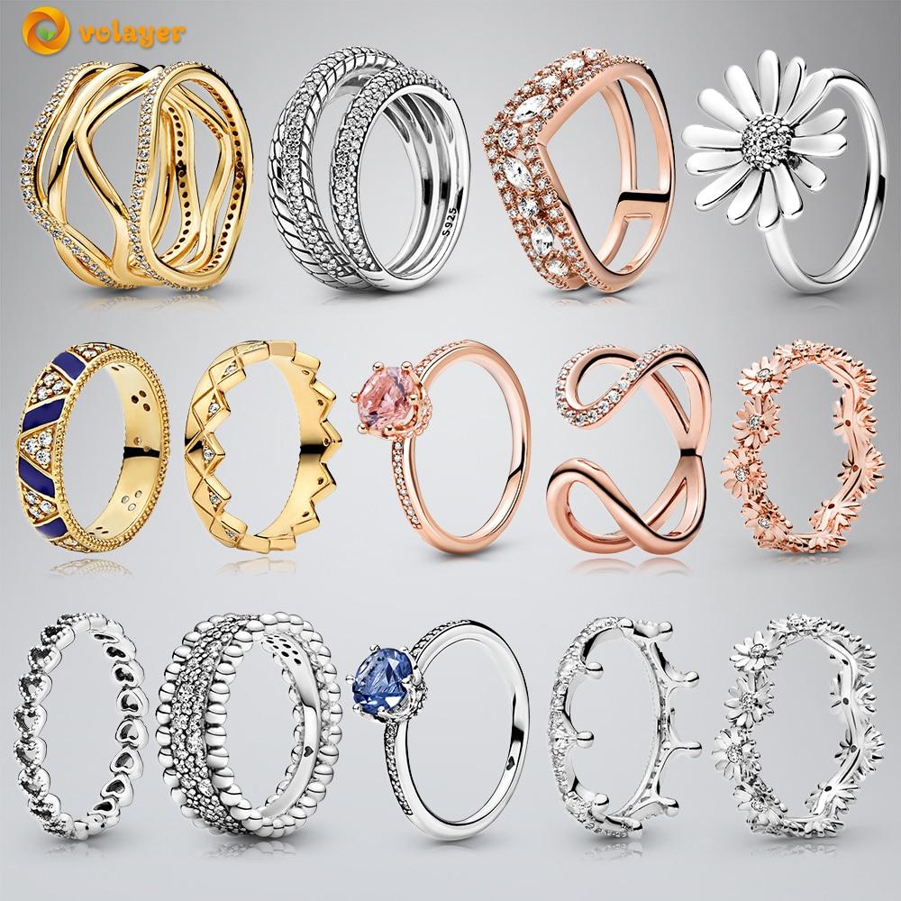 Volayer jesień oryginalny 925 srebrny pierścień różowy musujące Marquise podwójne pierścienie Wishbone kobiety pierścionki zaręczynowe