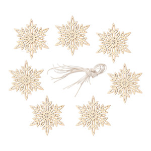 20 pcs Craft Accessories Christmas Snowflake Decorative Creative Wood Pendant Embellishments Cutouts Pieces