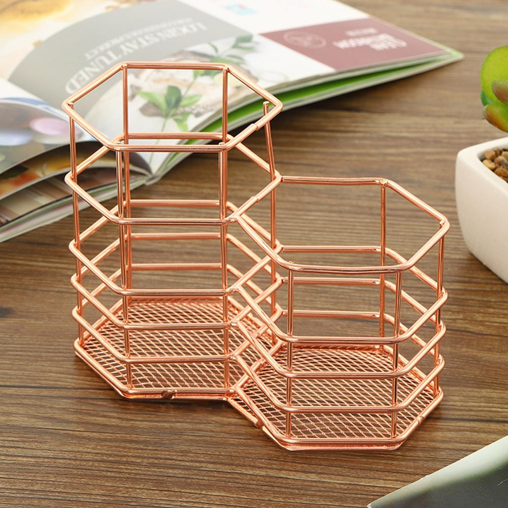 New Rose Gold Hollow Pen Holder Storage Container Table Organizer  5