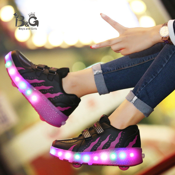 B&G Kids Walking Shoes LED Light Mens Running Shoes Double Wheel Skating Shoes Lighted Sneakers Roller Skates new shoes light double wheel breathable glowing walking shoes led roller skates 3 colors unisex students walking sneakers