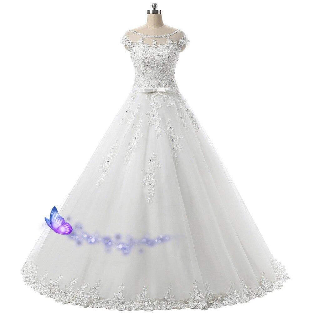 Cheap Wedding Dress Lace Appliques Crystal Beading Bridal Dresses 2016 Sexy Cap Sleeve Real Photos Vestido De Noiva Ball Gowns