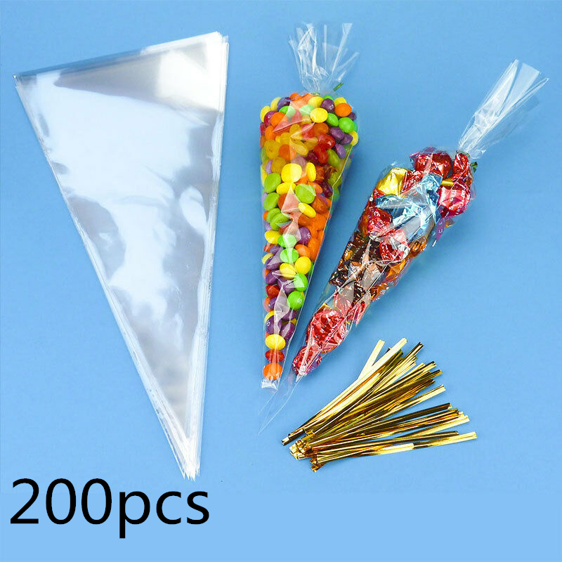 Small Medium Large Clear Coloured Cellophane Cone Bags Sweert Bags Kids Party