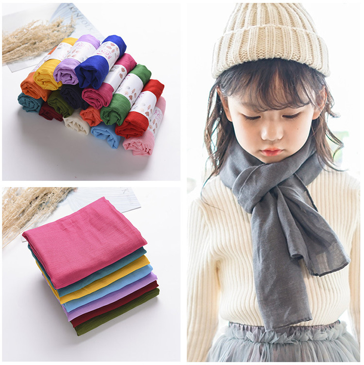 2018 Spring Autumn Winter New Style Candy-Colored Children Cotton Scarf Baby Gauze Kerchief CHILDREN'S Scarf Scarf