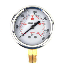 Pressure-Gauge Hydraulic-Meter-Tool Liquid-Filled-Oil 0-5000PSI Standard-Thread Brass