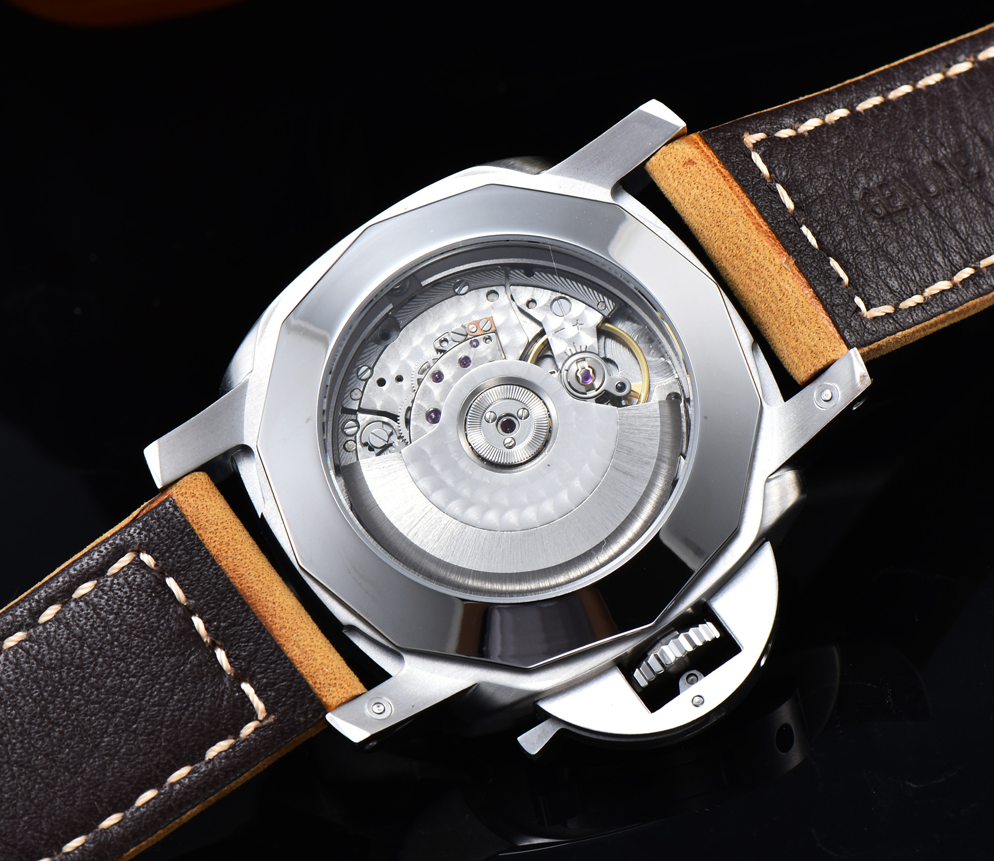 Watch 44mm silver stainless steel case seagull automatic movement military leather strap date a3 in Mechanical Watches from Watches