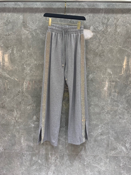 Early Autumn 2019 New Woman Drawstring, Belt, Loin, Colour Matching, Two Side Open-legged Pants 820