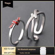 Thaya s925 prata anel nó vermelho streak cruz valentine dedo anéis para as mulheres boho vestido coréia jóias do sexo feminino amante presente