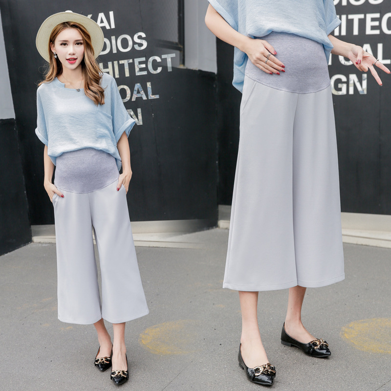 OkayMom Korea Loose Maternity Pants Summer Maxi Casual Pregnancy Capris High Elastic Belly Black Blue Pregnant Women Culottes