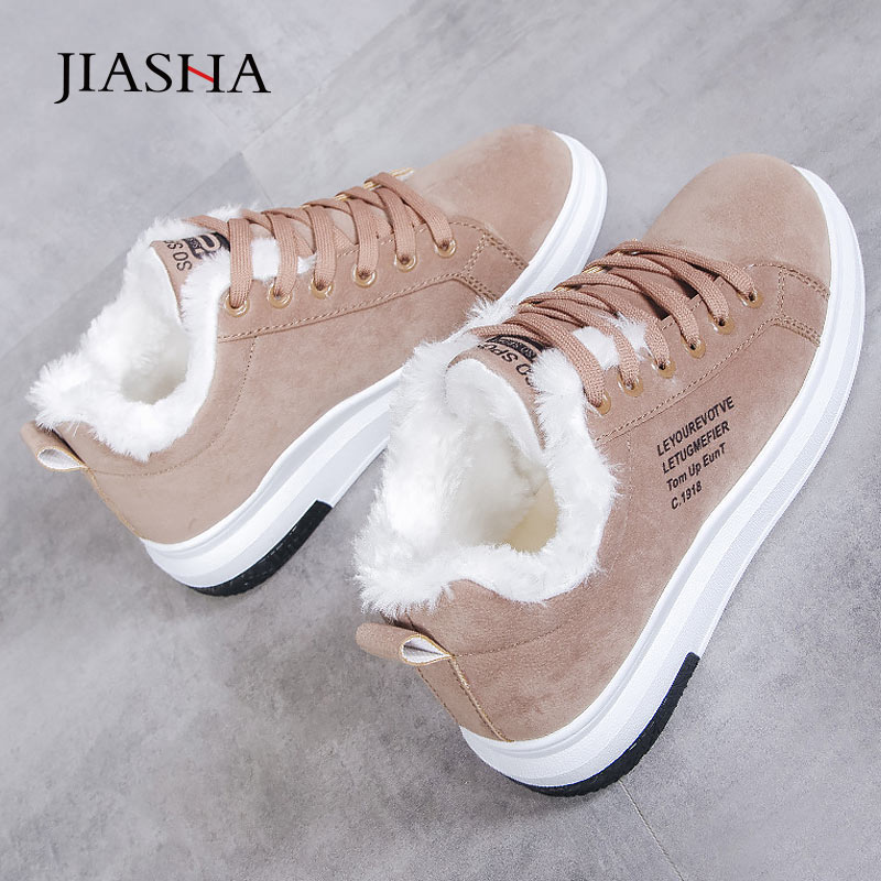 Sneakers women shoes 2020 new warm fur plush winter shoes woman casual shoes lace up fashion women sneakers platform snow boots