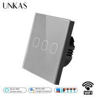 UNKAS Gray Luxury Crystal Glass ewelink Smart Home 3 Gang 1 way Wireless WiFi EU Standard Touch Switch Wall Light Switch