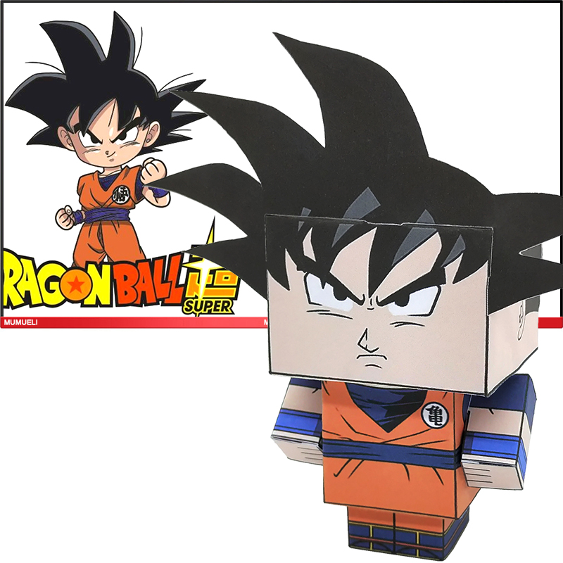 No-glue Dragon Ball Son Goku Folding Cutting Cute 3D Paper Model Papercraft Anime Figure DIY Cubee Kids Adult Craft Toys CS-050