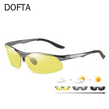 DOFTA okulary przeciwsłoneczne fotochromowe polaryzacyjne mężczyźni aluminium magnezu okulary do jazdy mężczyzna dzień noktowizor kierowcy gogle żółty 518 tanie tanio 9518