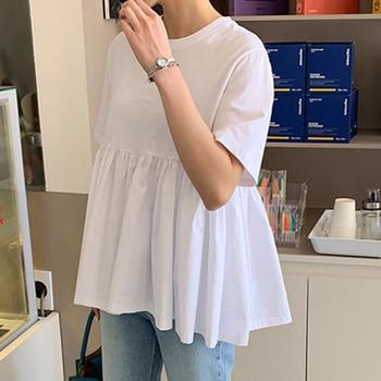 цена на Cute Pure White Summer Blouse Shirt Janpan Korean 2020 High Waist Pleated Tops Loose Style Femme Shirts Blouse Daily Minimalist