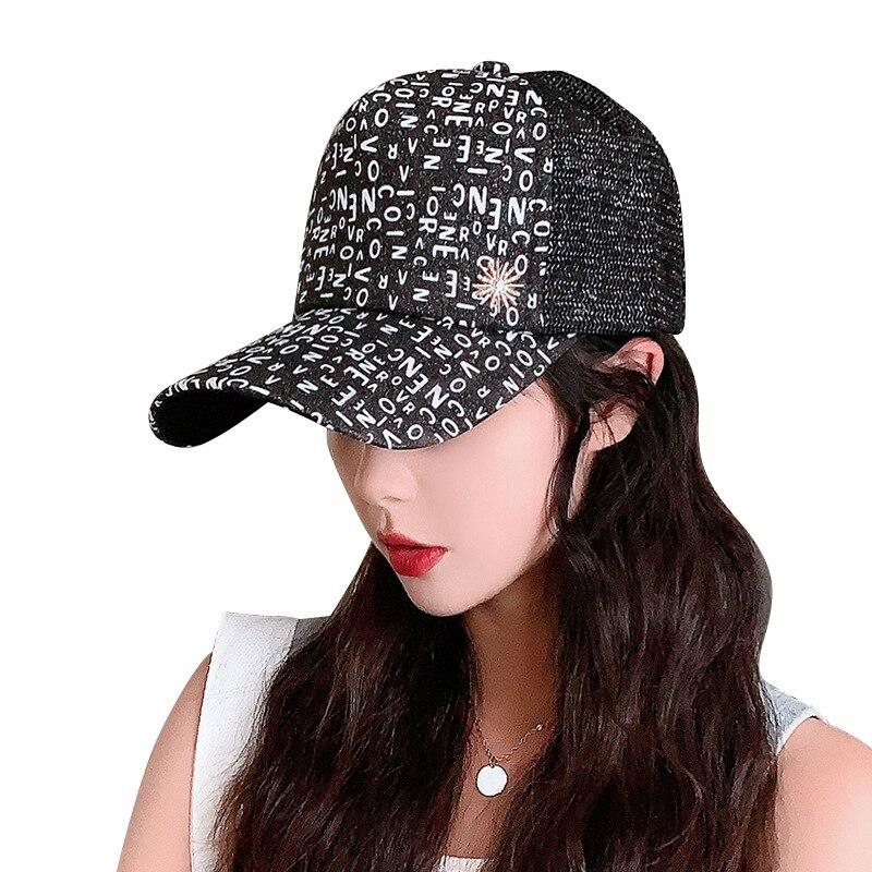 New Summer Hat Korean Ladies Fashion Mesh Breathable Caps Outdoor Sun-shading  Sunscreen Alphabet Baseball Hats Wholesale