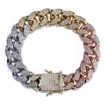 14-18MM Iced out Bling full zircon bracelet micro-studded zircon rainbow Gold men's personality hip-hop bracelet For Men Jewelry chic faux zircon hollow out palm foot bracelet