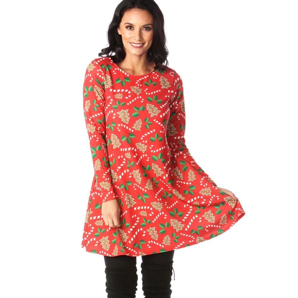Print Long Sleeve Autumn Winter Christmas Dress Women 19 Casual Loose Short Party Dress Plus Size S-5XL Vestidos 19