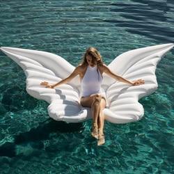Géant PVC ange ailes flottant rangée or blanc Lie-On gonflable matelas d'eau gonflable natation lit flottant pour enfant adulte