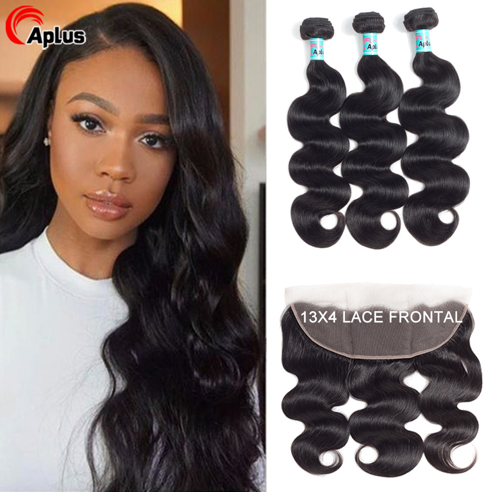 Aplus Transparent Lace Peruvian Hair Bundles With Frontal Body Wave Remy Human Hair 3 Bundles With Lace Closure Hair Extensions