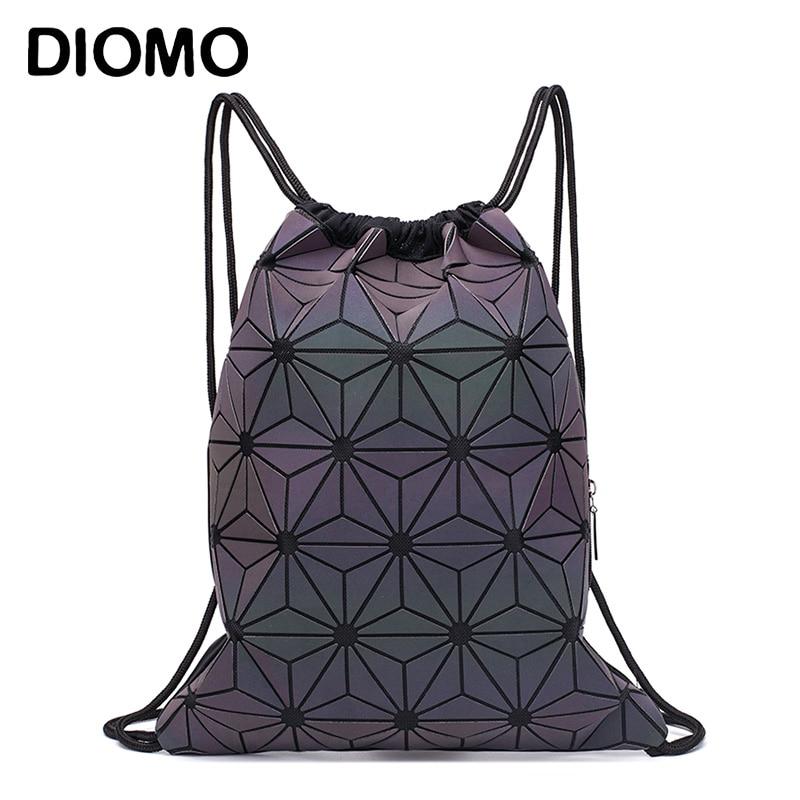 DIOMO Women Luminous Drawstring Backpack Foldable Shoulder Bags Beach Sack Bag Girls Geometric Bagpack String Summer Bag