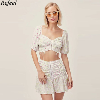 Two piece set women summer backless sexy dot floral print crop top Strudel Pleated Mini Skirt female suit sets dropshipping image