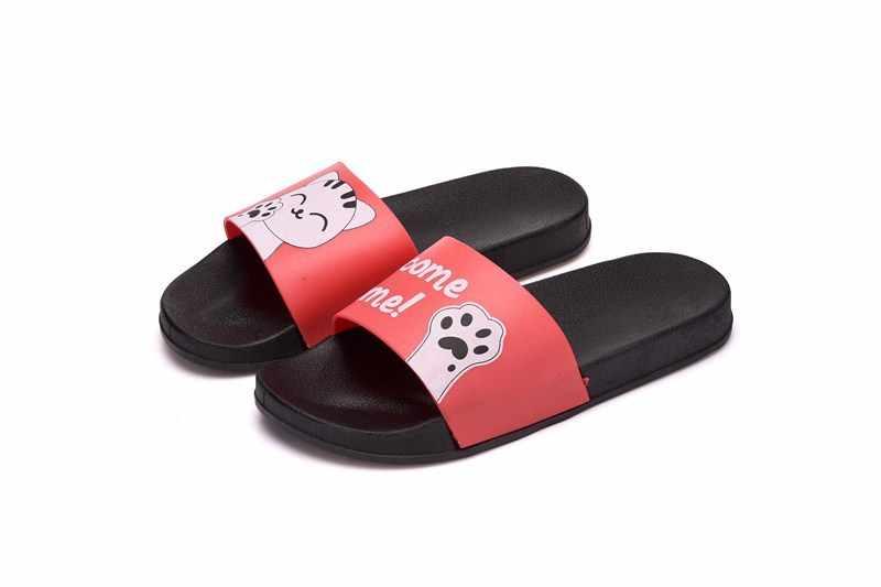 F/женские шлепанцы без задника; Женская обувь черного цвета с котом; Женские сандалии; Домашняя нескользящая обувь для мужчин и женщин; Fenty Beaty; Размеры 45, 43