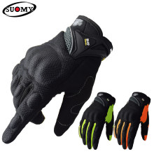 SUOMY-guantes transpirables para motocicleta de carreras, de dedo completo, de calidad, decorados con estilo, antideslizantes, XXL talla grande, color negro