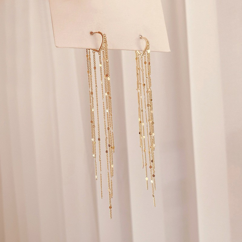 2020 New Arrival Dominated fashion long metal tassel Drop earrings Korean joker sweet lovely heart elegant Women earrings