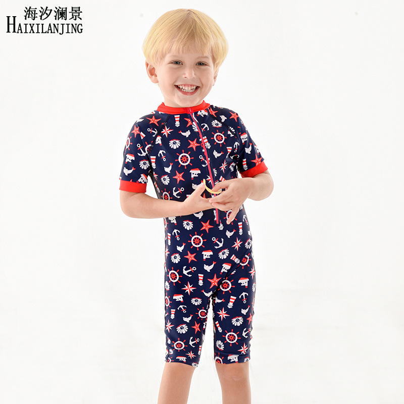 Hai Xi Lan Jing 2019 New Style BOY'S Swimsuit Half Sleeve Sun-resistant Boxer One-piece Swimming Suit Children Infant 1-9-Year-O