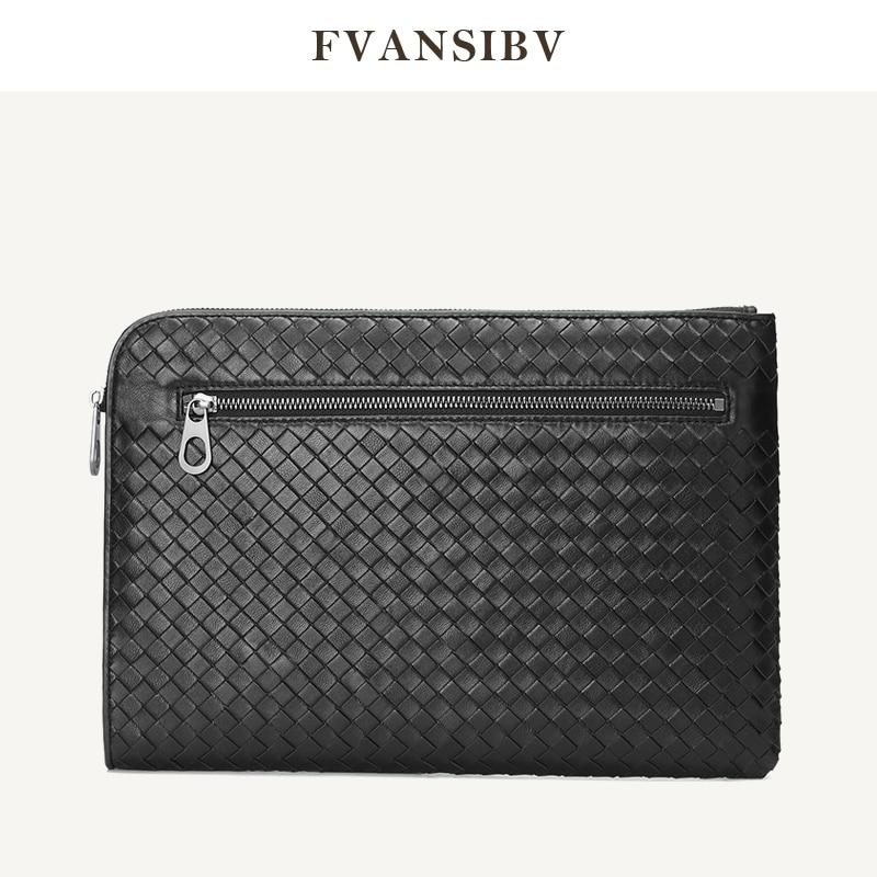 Деловая мужская сумка-клатч из 100% натуральной овечьей кожи, тканая Роскошная брендовая Сумка-конверт, многофункциональная Большая вместит...