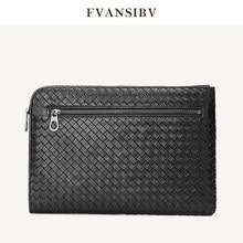 Business Mannen Clutch Bag 100% Echt Leer Schapenvacht Geweven Luxe Merk Envelop Tas Multifunctionele Grote Capaciteit A4 papier