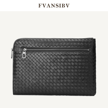 Business Men's Clutch Bag 100% Genuine Leather Sheepskin Woven Luxury Brand Envelope Bag Multi-Function Large Capacity A4 Paper