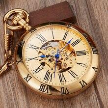 Luxus Gold Automatische Mechanische Taschenuhr Retro Kupfer Uhren Römischen Ziffern Fob Kette Anhänger Männer Frauen reloj de bolsillo