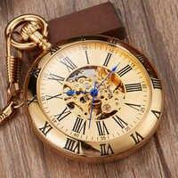 Reloj de bolsillo mecánico automático dorado de lujo Retro Relojes de cobre números romanos cadena Fob colgantes hombres mujeres reloj de bolsillo