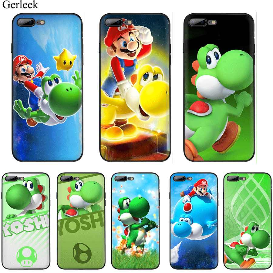 Case TPU for iPhone 11 Pro Max X XS XR iPhone 6 6s 7 8 Plus 5 se 5s Cover cartoon Yoshi Super Mario dinosaur Cute