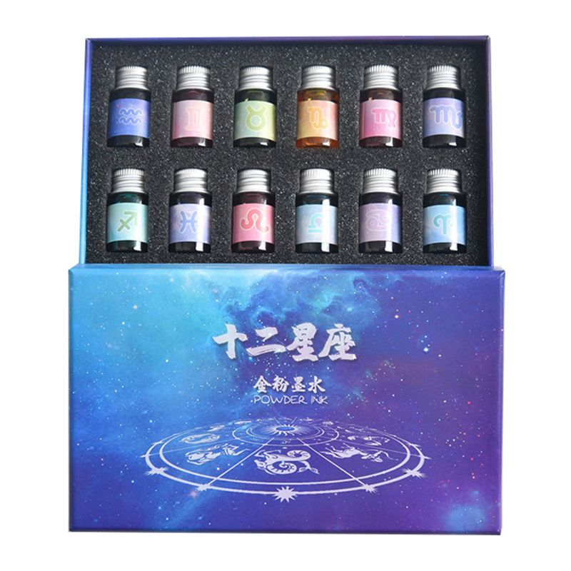 12 Constellation ink Gold Powder Glass dip pen Student Writing Signature Filling Ink Fountain Pens Office Supplies
