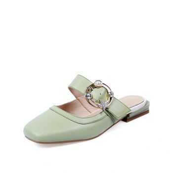 Genuine Leather Mules Shoes Women Low Heel Slippers Casual Slip-On Beige Shoes Summer Female Slippers Round Toe