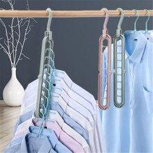 Multi-porta de suporte círculo cabide de roupas rack de secagem multifuncional plástico roupas prateleira gancho cloest organizador