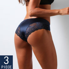 3Pcs/set Women's Sexy lingerie Lace Underwear Seamless sensual Panties Briefs Female Ice Silk intimates Underpants Cotton briefs
