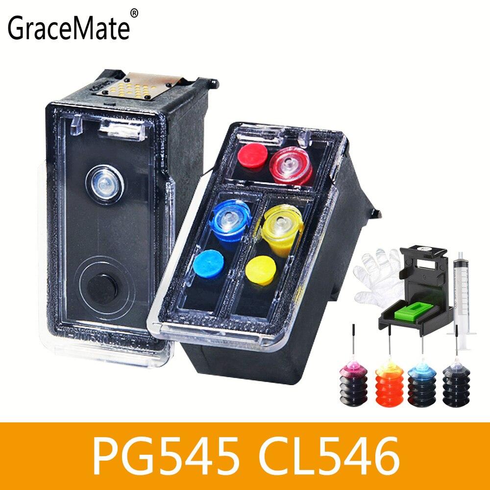 GraceMate remplacement de cartouches d'encre Canon, rechargeable 545 546 XL pour Pixma, PG545, CL546 pour Pixma, 2550 2450 S, 2550, MX495