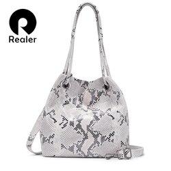 REALER женская сумка из натуральной кожи Большая вместительная сумка-тоут женская цветная змеиная печать женские сумки на плечо с кисточкой