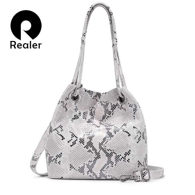 REALER Women Genuine Leather Handbag Large Capacity Tote Bag Female Colorful Serpentine Prints Ladies Shoulder Bags With Tassel