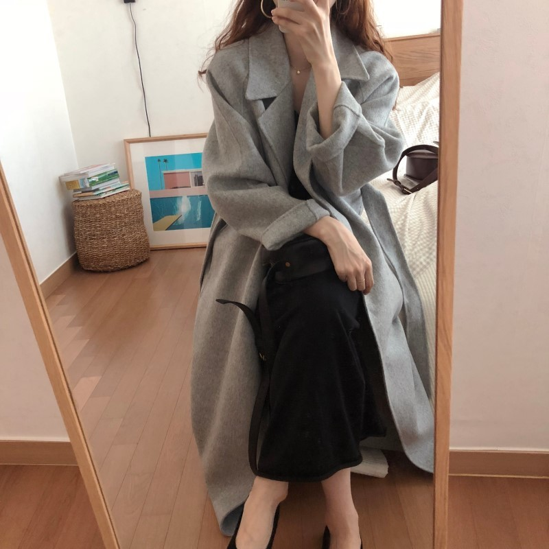 He7c49827d50041ef88bd986bf0e8741dM Winter Fashion Coats Women Wool-blend Coat Lazy Oaf Long Chunky Warm Coat Western Style Fitted Waist Lace-up  Loose Coat