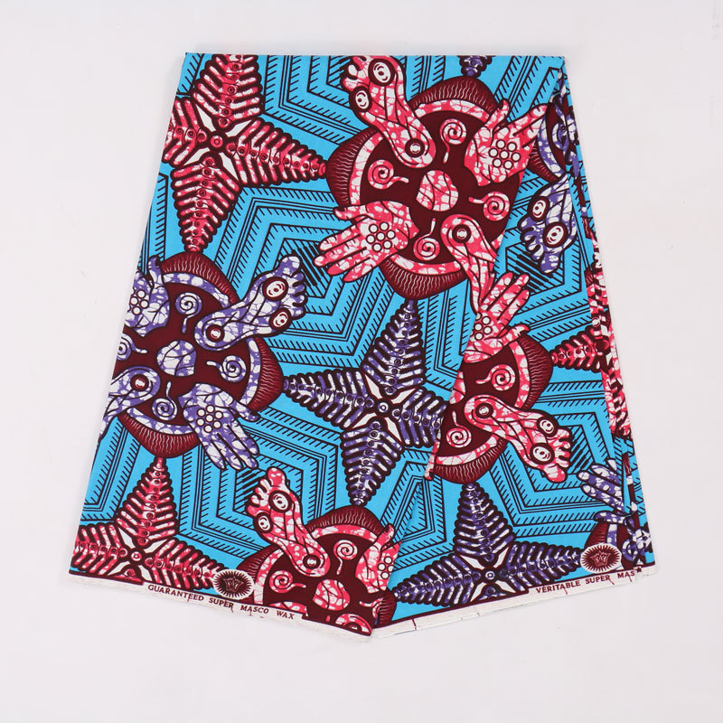 2019 New Arrivals African Nigeria Ankara Guaranteed Dutch Wax Blue And Red Printed Fabric 6Yards\Lot
